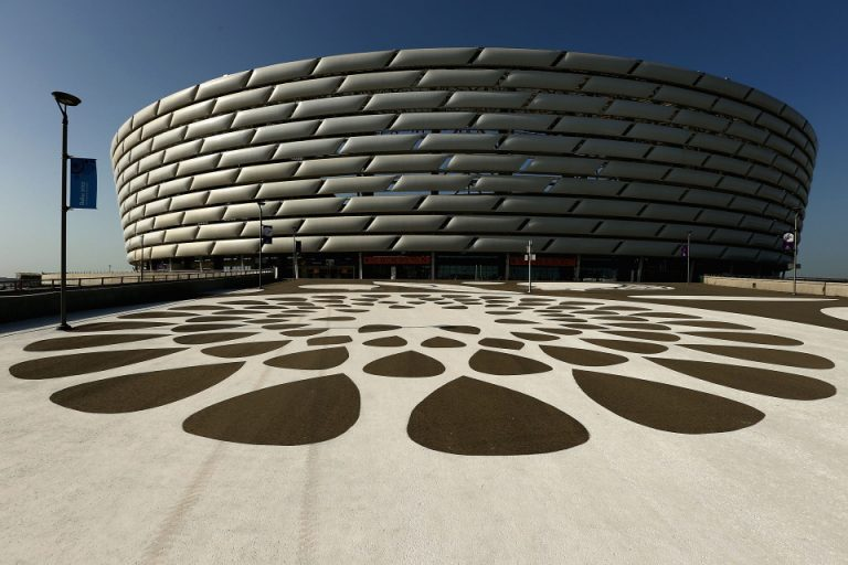 BAKU, AZERBAIJAN - JUNE 11:  A general view of the Olympic Stadium prior to the opening ceremony ahead of Baku 2015, the first European Games on on June 11, 2015 in Baku, Azerbaijan.  (Photo by Robert Prezioso/Getty Images for BEGOC)